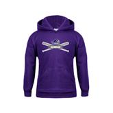 Youth Purple Fleece Hood-Baseball Bats