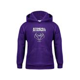 Youth Purple Fleece Hood-Basketball Stacked