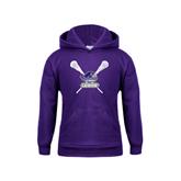 Youth Purple Fleece Hood-Lacrosse Sticks Design