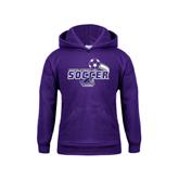 Youth Purple Fleece Hood-Soccer Swoosh