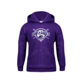 Youth Purple Fleece Hood-Softball Design w/ Bats and Plate