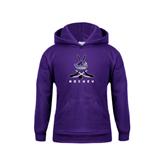 Youth Purple Fleece Hood-Hockey Crossed Sticks