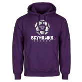 Purple Fleece Hoodie-Distressed Soccer Ball Design
