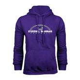 Purple Fleece Hood-Arched Football Design