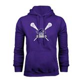 Purple Fleece Hood-Lacrosse Sticks Design