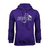 Purple Fleece Hood-Soccer Swoosh