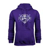 Purple Fleece Hood-Softball Design w/ Bats and Plate