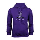Purple Fleece Hood-Hockey Crossed Sticks
