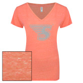ENZA Ladies Coral Melange V Neck Tee-Primary Mark White Soft Glitter