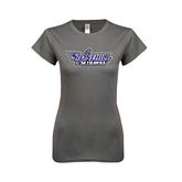 Ladies SoftStyle Junior Fitted Charcoal Tee-Stonehill Skyhawks