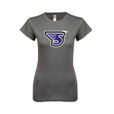 Ladies SoftStyle Junior Fitted Charcoal Tee-S