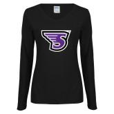 Ladies Black Long Sleeve V Neck T Shirt-Primary Mark