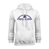White Fleece Hood-Arched Football Design