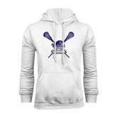 White Fleece Hood-Lacrosse Sticks Design