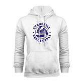 White Fleece Hood-Volleyball Stars Design