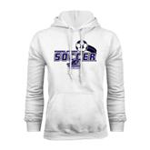 White Fleece Hood-Soccer Swoosh