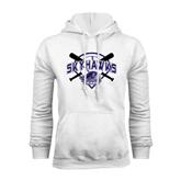 White Fleece Hood-Softball Design w/ Bats and Plate