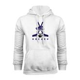 White Fleece Hood-Hockey Crossed Sticks