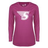 Ladies Syntrel Performance Raspberry Longsleeve Shirt-Primary Mark