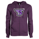 ENZA Ladies Purple Fleece Full Zip Hoodie-Primary Mark