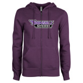 ENZA Ladies Purple Fleece Full Zip Hoodie-Stonehill Skyhawks