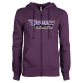ENZA Ladies Purple Fleece Full Zip Hoodie-Cross Country