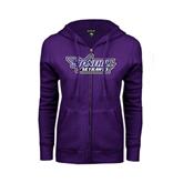 ENZA Ladies Purple Fleece Full Zip Hoodie-Stonehill Skyhawks