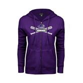 ENZA Ladies Purple Fleece Full Zip Hoodie-Baseball Bats