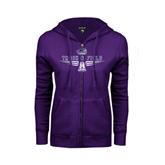ENZA Ladies Purple Fleece Full Zip Hoodie-Track and Field Design