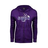 ENZA Ladies Purple Fleece Full Zip Hoodie-Soccer Swoosh
