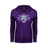 ENZA Ladies Purple Fleece Full Zip Hoodie-Softball Design w/ Bats and Plate