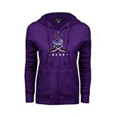 ENZA Ladies Purple Fleece Full Zip Hoodie-Hockey Crossed Sticks