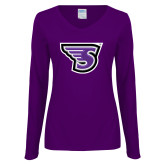 Ladies Purple Long Sleeve V Neck T Shirt-Primary Mark