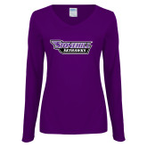 Ladies Purple Long Sleeve V Neck T Shirt-Stonehill Skyhawks