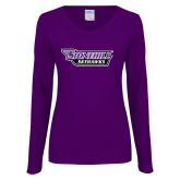Ladies Purple Long Sleeve V Neck T Shirt-Stonehill Skyhawks