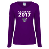 Ladies Purple Long Sleeve V Neck T Shirt-Class of Personalized Year, Personalized Year