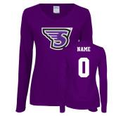 Ladies Purple Long Sleeve V Neck Tee-Primary Mark, Custom Tee w/ Name and #
