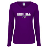 Ladies Purple Long Sleeve V Neck Tee-#GoHill