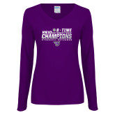 Ladies Purple Long Sleeve V Neck T Shirt-2017 Womens Tennis