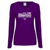 Ladies Purple Long Sleeve V Neck T Shirt-2017 Womens Tennis
