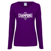 Ladies Purple Long Sleeve V Neck T Shirt-2018 Womens Indoor Track and Field Champions