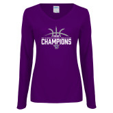 Ladies Purple Long Sleeve V Neck T Shirt-Womens Basketball Regular Season Champions