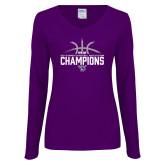 Ladies Purple Long Sleeve V Neck Tee-Womens Basketball Regular Season Champions