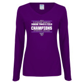 Ladies Purple Long Sleeve V Neck Tee-Womens Indoor Track and Field Champions