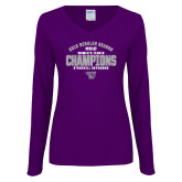 Ladies Purple Long Sleeve V Neck Tee-Womens Tennis Regular Season Champions