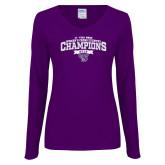 Ladies Purple Long Sleeve V Neck Tee-2018 17 Time NE10 Womens XC Champions
