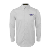 White Twill Button Down Long Sleeve-Stonehill Skyhawks