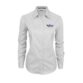 Ladies White Twill Button Down Long Sleeve-Stonehill Skyhawks