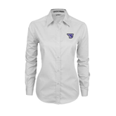 Ladies White Twill Button Down Long Sleeve-S