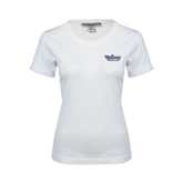 Ladies White Stretch Scoop Neck-Stonehill Skyhawks